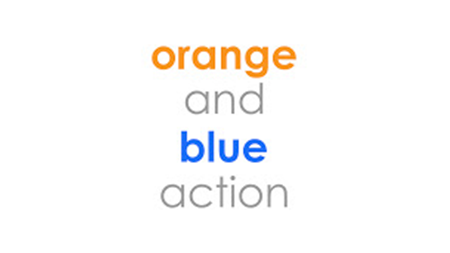 orange and blue action